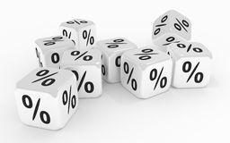 Dice with percent signs Royalty Free Stock Images