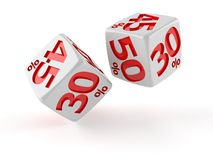 Dice with percent symbols. On white background Royalty Free Stock Photography