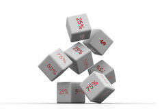 Dice and percentage Stock Image