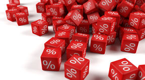 Dice percentage. A group of red dice with percent sign Stock Image