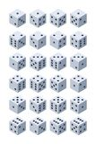 Dice for play. Various isometric 3d pictures of dice for games vector illustration