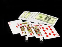 The dice and playing cards Stock Photos