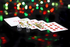 Dice and playing cards Stock Image