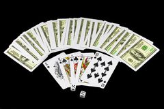 The dice and playing cards Royalty Free Stock Photography