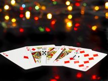 Dice and playing cards Royalty Free Stock Photo