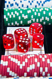 Dice poker chips Stock Photos