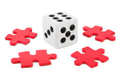 Dice and puzzle Royalty Free Stock Photo