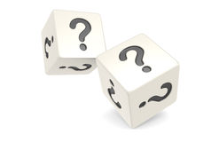 Dice with Question Mark. White Royalty Free Stock Photo