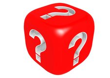 Dice with question mark Royalty Free Stock Photos