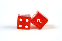 Dice with question mark Stock Photos