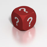 Dice of Questions. Dice with question marks on all sides Royalty Free Stock Images