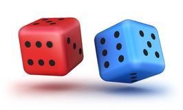 Dice red and blue Stock Image