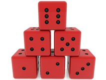 Dice in red color stacked in pyramid Stock Photos
