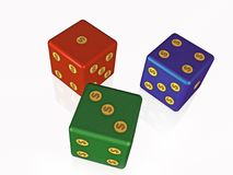 Dice. Red, green and blue dice on white background, 3D illustration Royalty Free Stock Images