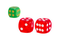 Dice red and green isolated on white background. Royalty Free Stock Photo