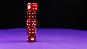 Dice Red Rotate on the Table stock video footage