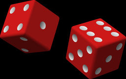 Dice, Red, Two, Game, Rolling Royalty Free Stock Photos