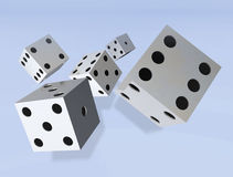 Dice rolling. A background of dice rolling royalty free illustration