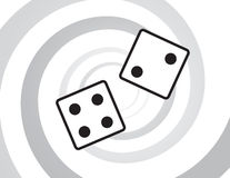Dice Rolling. In front of spiral background stock illustration