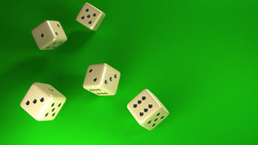 Dice rolling green background. White dices rolling on green velvet background vector illustration