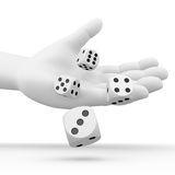 Dice rolling from a hand. Computer generated image of a hand throwing 4 dices Royalty Free Stock Photography