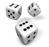 Dice Rolling. Rendering 3d of three rolling white dice showing number six illustration isolated on white background royalty free illustration