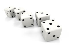 Dice in a Row in the Order of Fibonacci Sequence. Six dice placed in order, the top numbers being in order of: One, One, Two, Three, Five, which are the Stock Photography