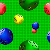 Dice,samples,pattern. Dice on green background,samples,pattern Stock Photos