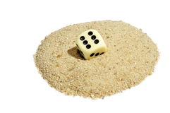 Dice on Sand Stock Photo