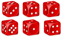 Dice set. Red dice set on white background Stock Photo