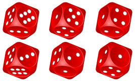 Dice set. Red dice set on white background Royalty Free Stock Photography