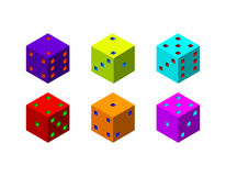 Dice set. 3d Vector colorful illustration.3d isometric style. Royalty Free Stock Photo