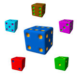 Dice set.3d Vector colorful illustration. Royalty Free Stock Photography