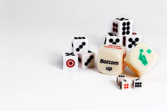 Dice sex game. Play love games with exotics sex dice. On white background royalty free stock images