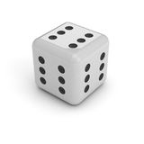 Dice with six in every face. A black and white dice, isolated over a white background. It has six dots on every face, meaning that you can't loose Stock Photo