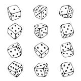 Dice sketch set, chance and gambling risk royalty free illustration
