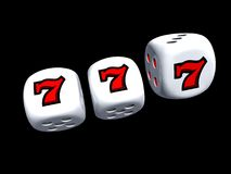 Dice with slot seven. Of casino isolated on dark background Royalty Free Stock Images