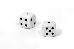 Dice Snake Eyes. Pair of dice with a pair of ones or Snake Eyes royalty free stock image