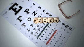 Dice spelling out focus falling onto eye test stock footage