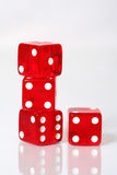 Dice Stack. Stack of red and white dice on a white background royalty free stock photos