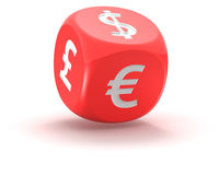 Dice with symbols of currencies Stock Photo