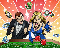 Dice table at Casino. Cartoon-style illustration: a young couple playing dice at the Casino Royalty Free Stock Photo