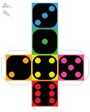 Dice Template Construction Sheet Bright Colors Stock Photos