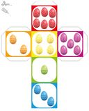 Dice Template Easter Eggs Colorful Stock Photography