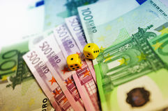 Dice on thousands of euro Stock Image