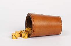 Dice throwing cup Royalty Free Stock Images
