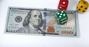 Dice Thrown on Dollar Bank Notes, stock footage