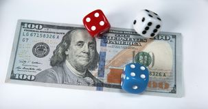 Dice Thrown on Dollar Bank Notes, stock video