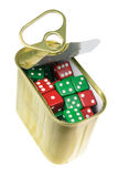 Dice in Tin Can royalty free stock photo