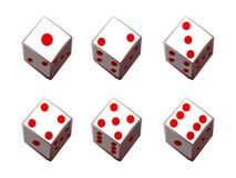 Dice 1 to 6 Royalty Free Stock Images